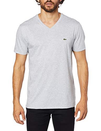 Camiseta em Jérsei de Algodão Pima com Gola V, Lacoste, Masculino, Cinza Mescla, PP