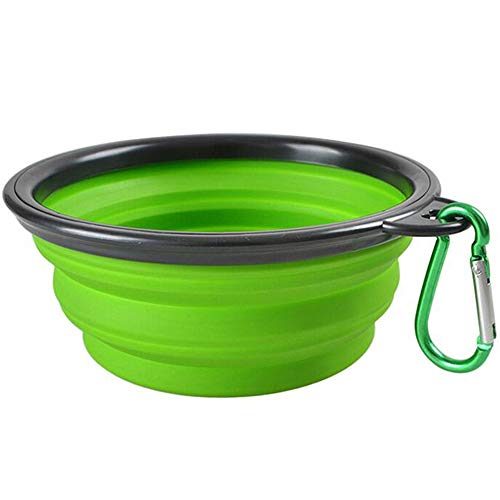 Pet Collapsible Bowl, Collapsible Dog Water Bowls for Cats Dogs, Portable Pet Feeding Watering Dish for Walking Parking Traveling (Small - 12 oz, Green)