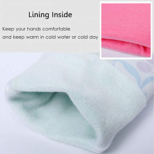 Product Image 3: Household Rubber Cleaning Dishwashing Latex Gloves Cotton Lining Warm Non-slip Kitchen Gloves (3-Pairs),Free get Cleaning Cloth (1-Pack) 3 P Lined