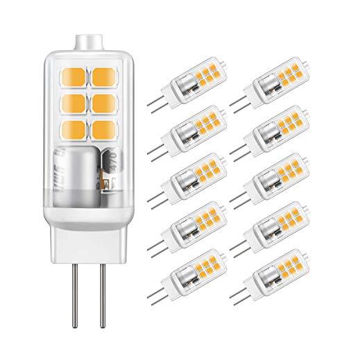 Jpodream® Ampoule LED G4, 2W 12 x 2835 SMD Ampoules OLED, Économie d'énergie Equivalente 20W Halogène Lumière, Blanc Chaud 3000K, 210LM, AC/DC12V, 360° Angle de Faisceaux - Lot de 10