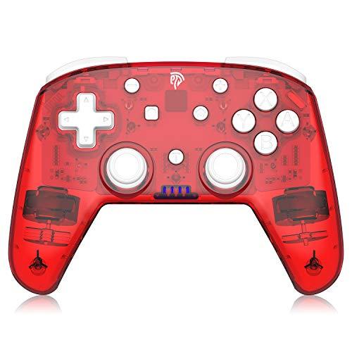 EasySMX Controller per Switch / Switch Lite, controller wireless per Nintendo Switch, controller Switch Pro a 6 assi con Bluetooth / Turbo / doppio motore per Switch Pro, Switch Lite e PC, rosso