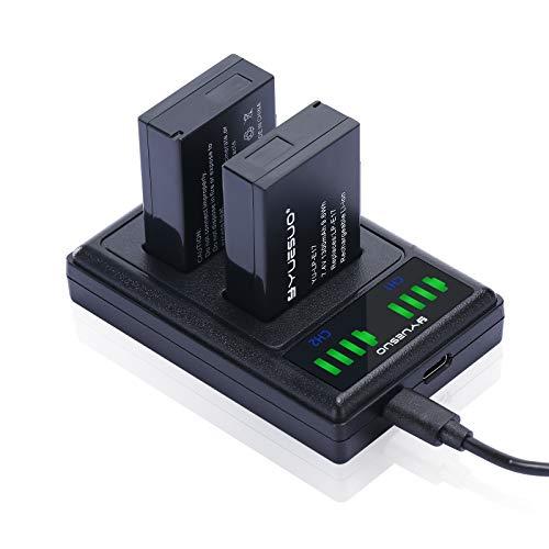 Batería de cámara YUESUO LP-E17 (Paquete de 2) y Cargador Micro USB Doble rápido para Canon Rebel SL2, T6i, T6s, T7i, EOS M3, M5, M6, EOS 200D, 77D, 750D, 760D, 800D, 8000D, Kiss X8i