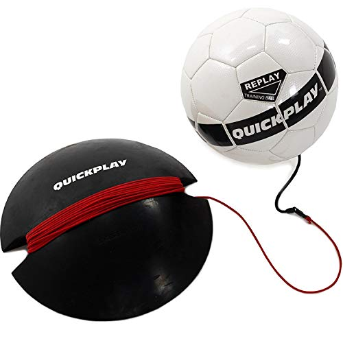 QuickPlay Replay Soccer Training Ball | Adjustable Bungee Elastic Training Ball with Base Weight The Ultimate Hands Free Soccer Skills Trainer (Size 4 Soccer Ball (Youth))