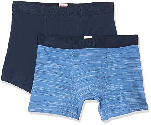 Levi's Herren Levis Men Space Dye Boxer Brief 2P Boxershorts, Blau (Riverside Blue 003), Medium (Herstellergröße: 020) (2er Pack)