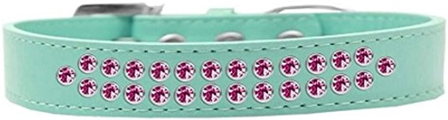 Mirage Pet Products Two Row Bright Pink Crystal Aqua Dog Collar, Size 18