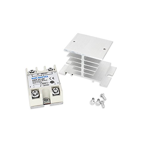 Inkbird ITC-106VH PID Temperature Thermostat Controllers Fahrenheit and Centigrade AC 100 to 240V K Sensor Solid State Relay for Sous Vide Home Brewing 25DA SSR White Heat Sink