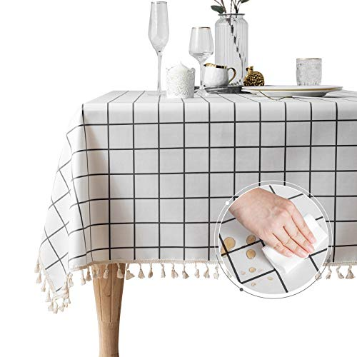 Line Rectangle Table Cover Heavy Weight Tablecloth Waterproof Wrinkle Stain Resistant Table Cloths for Kitchen Dinning Table Top Decoration (White, Rectangle/Oblong,55 x 86 Inch,6-8 Seats)