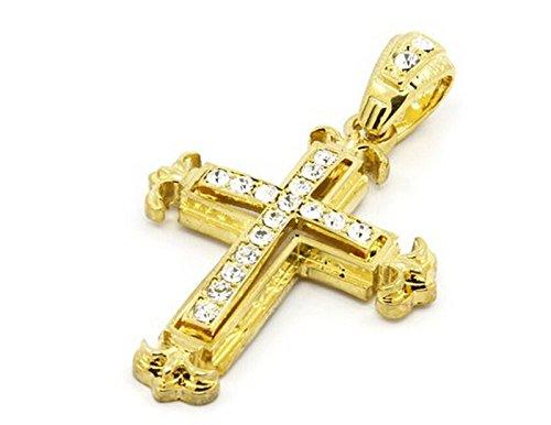 Yowablo Halskette Kette Sharp Sides Strass Kreuz Anhänger Hip-Hop Cuban (Gold)
