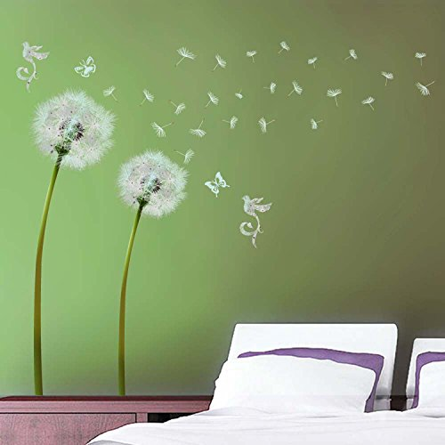Walplus Wandtattoo, Motiv Pusteblumen mit fliegenden Samen, selbstklebend, durchsichtige Ecken, Grün/Weiß