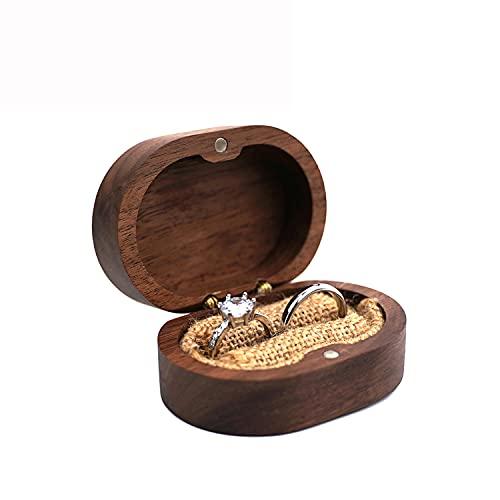 BAWAQAF Caja de anillo de joyería de madera,Titular de anillo de madera de boda rústico,Caja de regalo de madera personalizada del portador del anillo