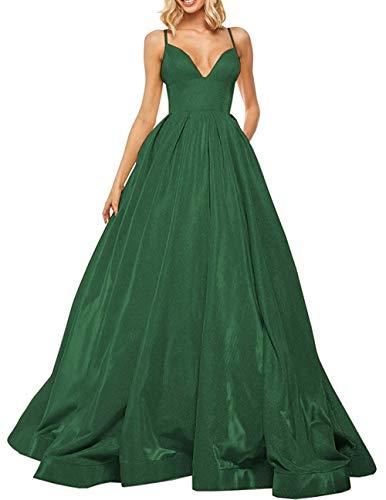 Elegant Abendkleid Lang A-Linie Ballkleid Partykleider Prinzessin Hochzeitskleid Satin Glitzer Festkleider Grün 48