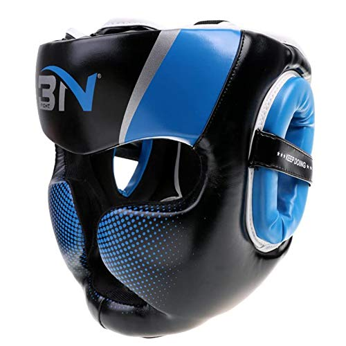 SFEEXUN Headgear Headguard for Boxing MMA Training Kickboxing, Head Gear Head Protection Helmet for Muay Thai, Grappling, Sparring, Karate, Taekwondo, Martial Arts (Blue, M)