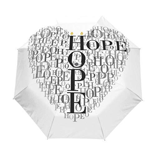 SUHETI Paraguas automático de Apertura/Cierre,Palabras de Esperanza en Forma de corazón Ilustración romántica con Velas,Paraguas pequeño Plegable a Prueba de Viento