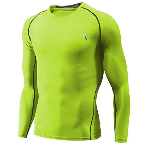 Nooz Men's Cool Dry Compression Baselayer Long Sleeve T Shirts - Neon Green, Medium