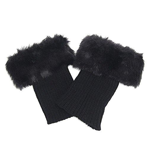 HugeStore Damen Frauen Winter Kunstpelz Crochet Stricken Stulpen Beinstulpen Beinwärmer Kniestrümpfe Legwarmers Schwarz