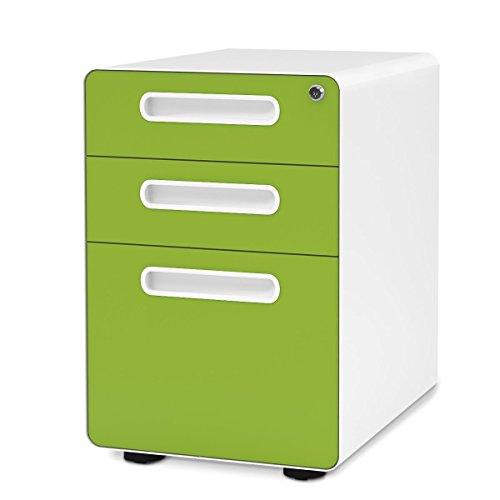 DEVAISE Unidad de almacenamiento Unidad de escritorio con ruedas para archivador colgante de metal A4 con cerradura 3 cajones, 41 x 53,5 x 60,5 cm, Verde