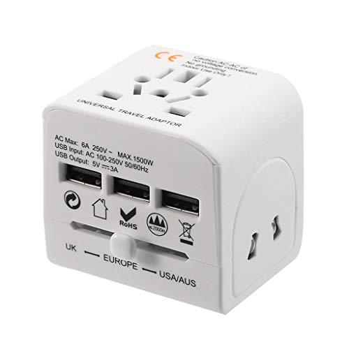 Universal-Reiseadapter, Multifunktions-3-USB-Anschluss, Steckerladegeräte für UK/US/EU/AU, exzellenter tragbarer Reisebegleiter, 59X61X61mm (White)