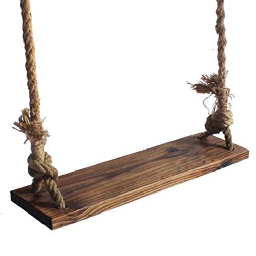 GWFVA Columpio Asiento de Columpio Simple de Madera Maciza para niños 1~2 Personas Patio Interior Silla de Cuerda de cáñamo Altura de la Cuerda Ajustable Longitud 2.5m