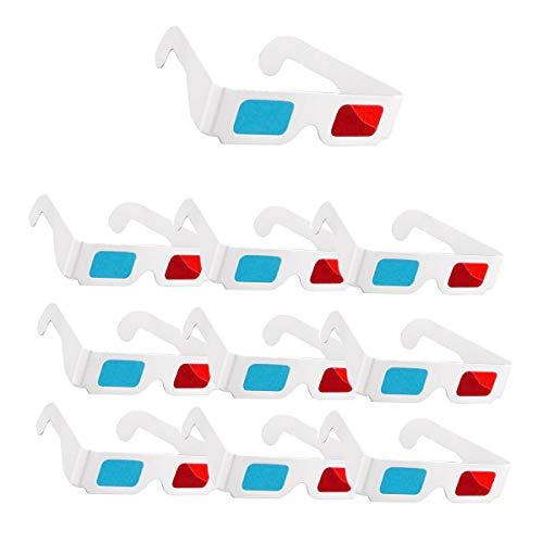 Gafas 3D, 10 pares de gafas estéreo de papel rojo y azul para decoración de películas
