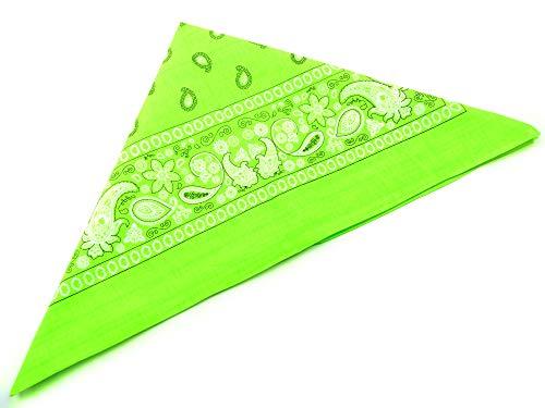 Bandana Nicki Paisle. Motif vert fluo tête Chiffon palesti. écharpe foulard Bracelet zantana nikitue ergonomique 56 x 56 cm (Neon Green) 4654