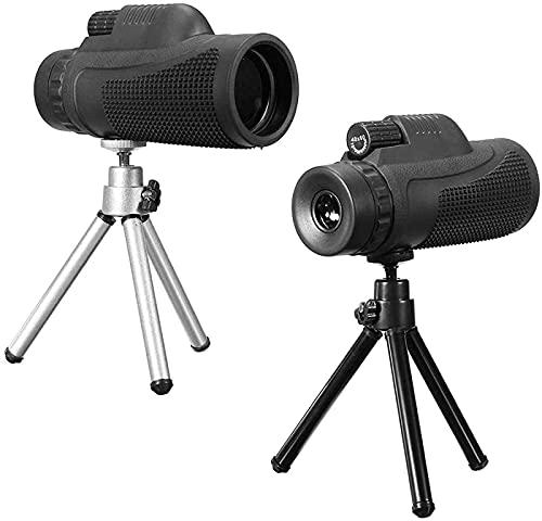 Telescopio monocular 40x60 HD de Doble Enfoque, focos de Alta Potencia a Prueba de Agua para Adultos con Adaptador de fotografía de teléfono Celular para