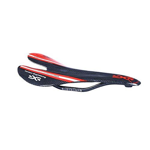ELITA ONE Asiento de Bicicleta súper Ligero con Fibra de Carbono con Asiento 95g, Asiento para sillín de Bicicleta de montaña y Carretera, 3K Rojo Verde Azul (Rojo Brillante)