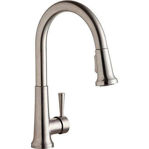 Elkay LK6000LS Single Hole Deck Mount Kitchen Faucet with Pull-Down Spray and Forward Only Lever Handle, Lustrous Steel