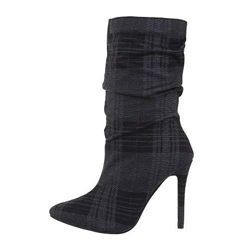 Ital Design Damenschuhe Stiefeletten High Heel Stiefeletten Canvas Schwarz Grau Gr. 39
