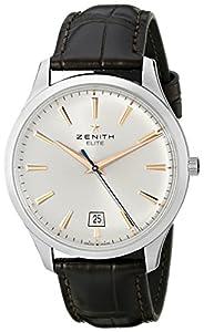 Zenith Men's 03.2020.670/01.c498 Elite Captain Central Second Silver Sunray Dial Watch image