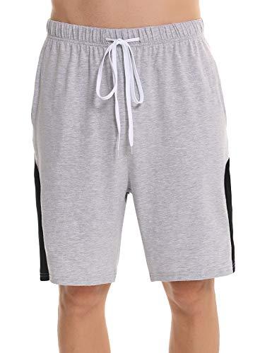 Irevial Short Homme Coton Pantalon Court Homme Été Bas de Pyjama avec Poches et Cordon à la Taille, M, Gris