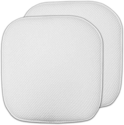 yyuan 2 PCS Chair Cushion, Memory Foam Cushion Honeycomb Non-Slip Non-Slip Rubber Back Rounded Square 16' X 16' Seat Cover (White)