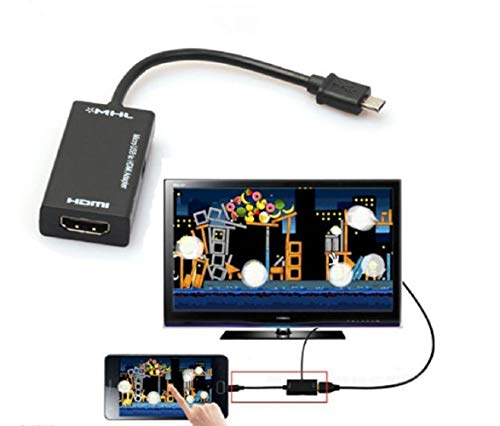 Greetuny Cavo Adattatore Mini Micro USB 2.0 MHL a HDMI HD 1080P per Samsung Galaxy S7, Android (Nero, OneSize)