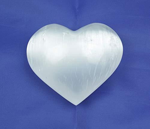 1 Selenit Herz weiss poliert I 240 Gramm I Handschmeichler