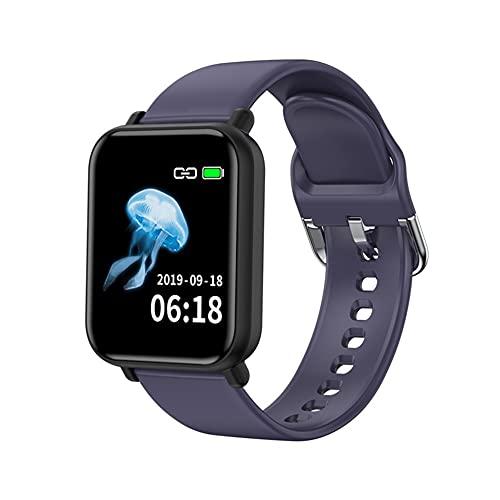 Reloj inteligente con monitor de frecuencia cardíaca, resistente al agua IP68, podómetro, cronómetro, reloj inteligente para hombres y mujeres, para iPhone y teléfono Android (color azul)