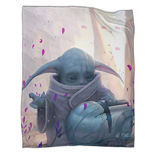 Manta de microfibra súper suave y cómoda de Star Wars Baby Yoda vista frontal para sofá de 180 x 230 cm