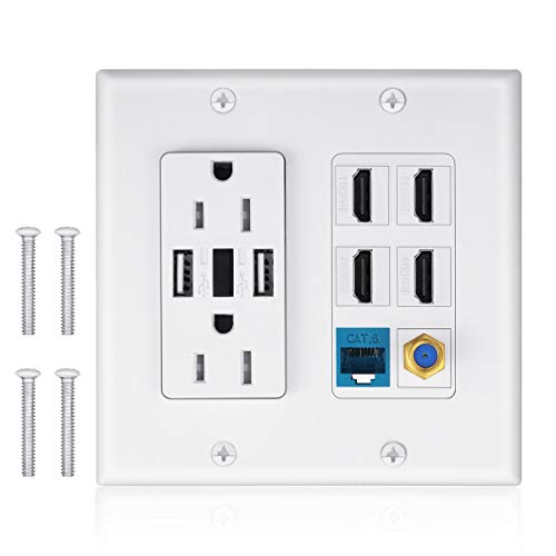 2 Power Outlet 15A with Dual 2.4A USB Charger Port Wall Plate with LED Lighting, IQIAN 4 HDMI HDTV + 1 CAT6 RJ45 Ethernet + Coaxial Cable TV F Type Keystone Face Plate White