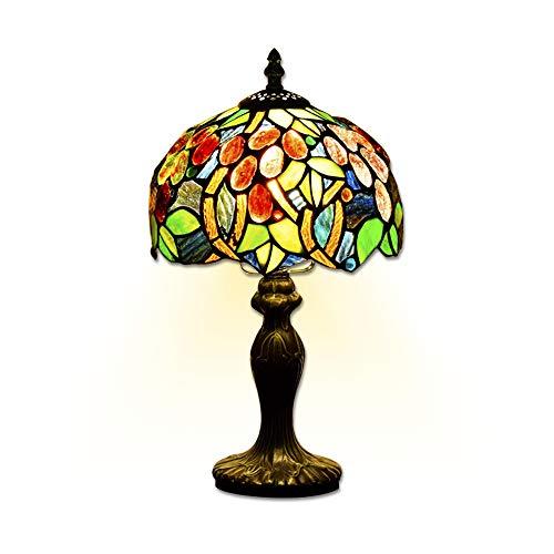 EuSolis Tiffany Lampes de chevet et de table Fleurs artisanales à 8 pouces Vitrail E27 Lampes de chevet de luxe 01
