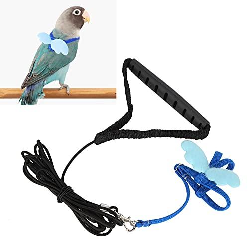 Vogel verstelbaar harnas, bestand tegen kauwen op vogelharnasriem voor training voor vogels vliegen(blue, S)