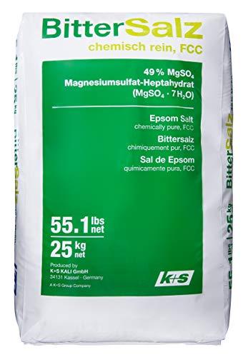 Purux Bittersalz Magnesiumsulfat 25 kg, MgSO4 Food Grade FD Epsom Salt