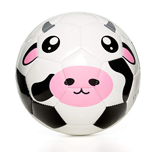 YANYODO Animal Soccer Ball for Kids, Toddlers and Babies Soft Touch Balls Size 1.5/3, Shipped Deflated, Black&White Cow