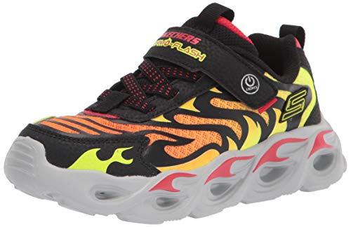 Skechers Thermo-Flash Jungen Sneaker Textil Gummizug Klett Blink 400106L BKRD, Groesse 30, schwarz/orange