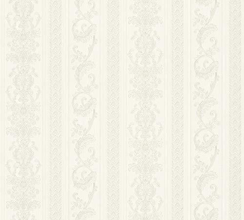 A.S. Création Vliestapete Concerto 3 Tapete mit Ornamenten barock gestreift 10,05 m x 0,53 m creme grau Made in Germany 335471 33547-1