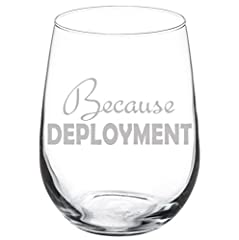 "Wine Glass Goblet Military Army Marines Survival Glass Because Deployment 10oz Wine Glass Measures 7"" H 2.5"" D 20oz Wine Glass Measures 9"" H 2.5"" D 17oz Stemless Wine Glass Measures 4.5"" H 3.5"" D Real Glass"