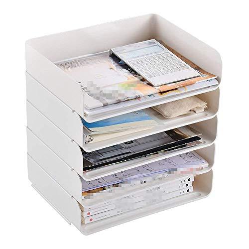 TYXL Desk Supplies Organisers Desktop File Sorter A4 Paper Folder Stationary Office Supplies Opbergdozen op bureau met 5 uittrekbare laden Kantoorbenodigdheden (Kleur: Wit, Maat: 31.5X25X38.5cm)