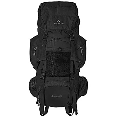 TETON Sports Scout 3400 Internal Frame Backpack; High-Performance Backpack for Backpacking, Hiking, Camping; Black (121B)