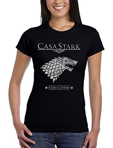162-Camiseta Mujer Juego De Tronos - Casa Stark, (Negra L)