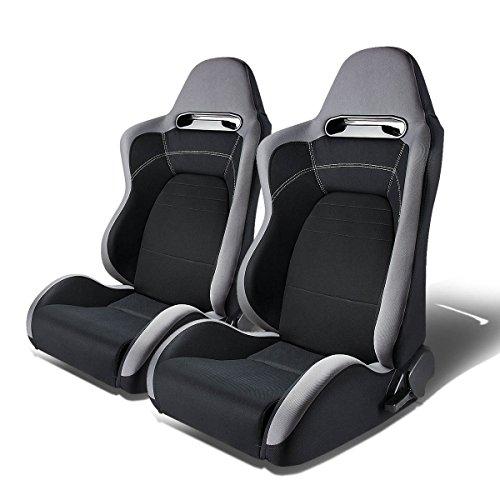 Pair of Full Reclinable T100 Type-R (Gray & Black) Racing Seat+Adjustable Sliders