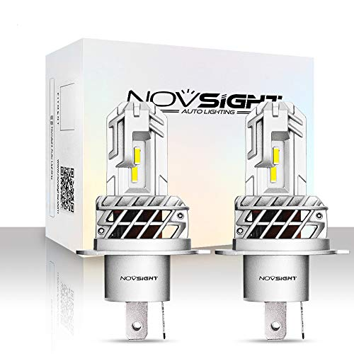 NOVSIGHT ledヘッドライト H4 ファンレス LEDバルブ フォグランプ 10000LM(5000LMx2) 40W(20Wx2) 6000Kホワイト 一体型 2個セット 2年保証