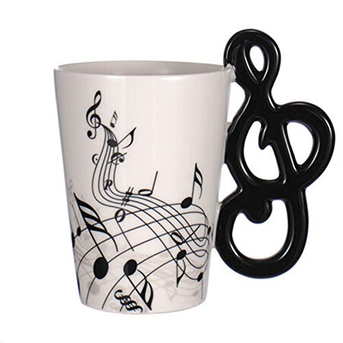 Juegos de tazas grandes 10.1 leche té taza taza de cerámica regalo de la música de las notas musicales oz Diseño de la guitarra taza de café de la bebida for guitarristas amigo Músicos Taza de café Ta