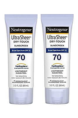 Neutrogena Ultra Sheer Dry-Touch Sunscreen, SPF 70, 88 mL (Pack of 2) by